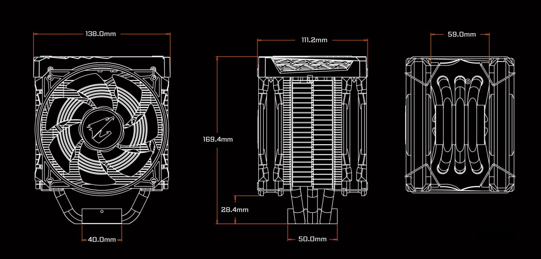 Buy the Gigabyte Aorus ATC700 CPU Cooling Fan For CPU TDP up